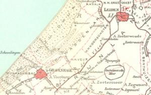 kaart van heerlijkheden rond Leiden