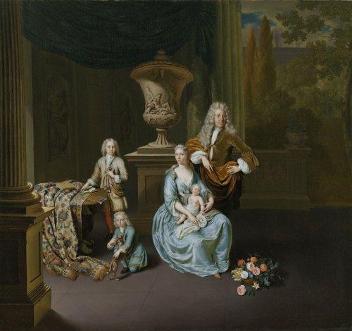 Diederik Baron van Leyden van Vlaardingen (1695-1764), burgemeester van Leiden, met zijn echtgenote Sophia Dina de Rovere en hun zonen Pieter, Jan en Adriaan Pompejus, door Willem van Mieris (1728). Rijksmuseum Amsterdam.