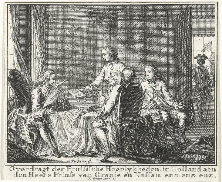 Overdragt der Pruisische Heerlykheden in Holland aen den Heere Prinse van Oranje en Nassau, door Simon Fokke, 1754 (ets en gravure; Rijksmuseum, Amsterdam)