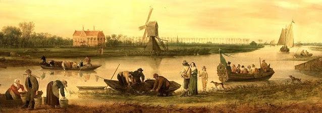 Gezicht op de Vliet bij Voorschoten met huis Oostbos door Jan van Goyen