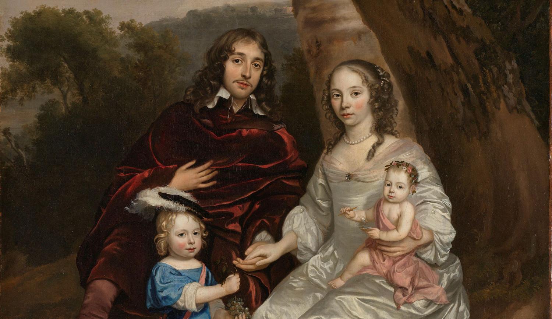 Govert van Slingelandt (1623-90), heer van Dubbeldam. Met zijn eerste vrouw Christina van Beveren en hun beide zoontjes